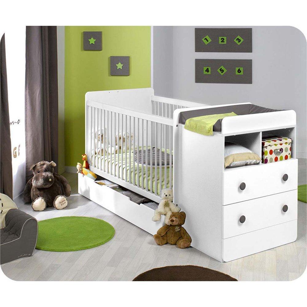 Paket Mitwachsendes Babybett Malte weiß mit Matratze