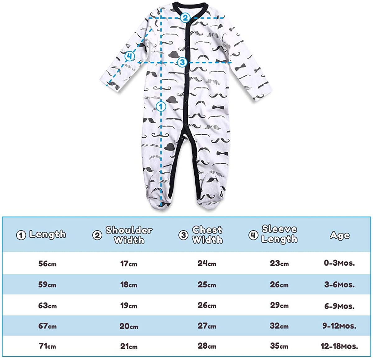 OPAWO Baby Boy Girl Footed Sleeper Cotton Printed Pajamas One-Piece Romper 0-18 Months