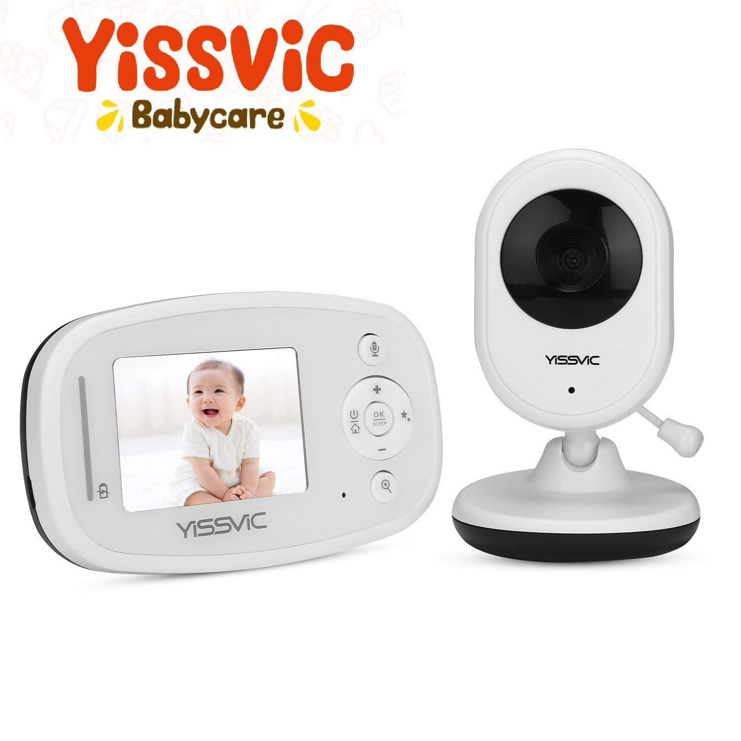 YISSVIC Baby Monitor Wireless 2.4 Inch with Camera HD Digital Video Two Way Talk Night Vision White Smile&Satisfaction