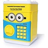 ATM 電子貯金箱 黄色い可愛い貯金箱 バンク お札も 硬貨もはいる金庫型 自動的にお札を食べる おもしろい誕生日プレゼント 音楽放送、自動的にお札を食べる、暗証番号 大容量 硬貨 紙幣 パスワー 子供のおもちゃ インテリア 日本語版の説明書が付きます