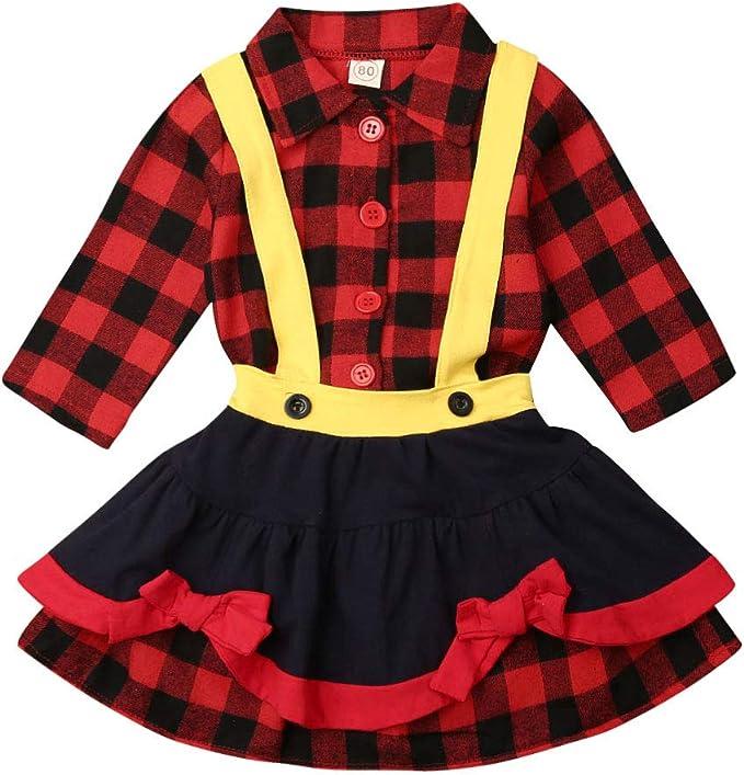 Vestido de Navidad para niños y niñas, de Manga Larga, con Falda y ...