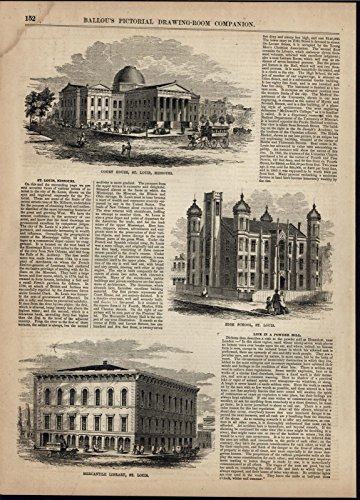 St Louis Courthouse Mercantile Library High School 1856 antique engraved ()