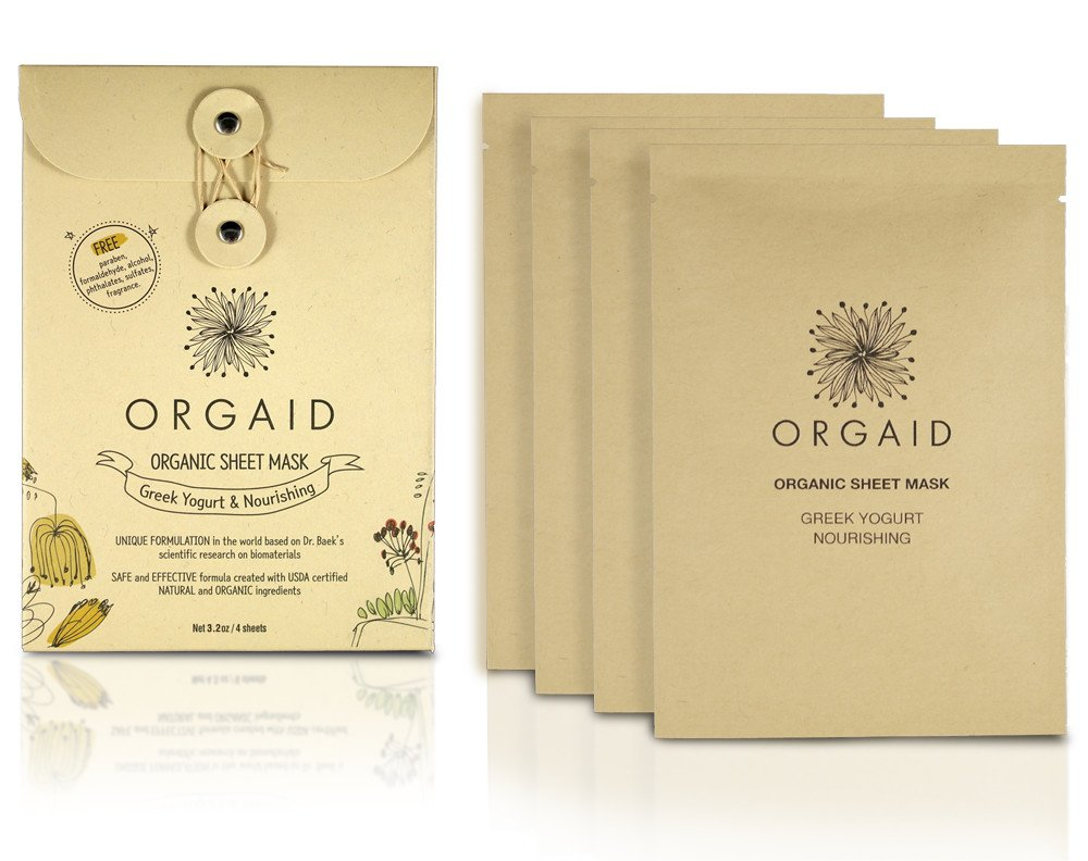 ORGAID Organic Sheet Mask | Made in USA (Greek Yogurt & Nourishing, pack of 4)