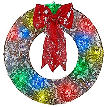 Gemmy Lightshow 2.4' Frosted Vines Wreath Sculpture - Multi-color LED by Ligthshow