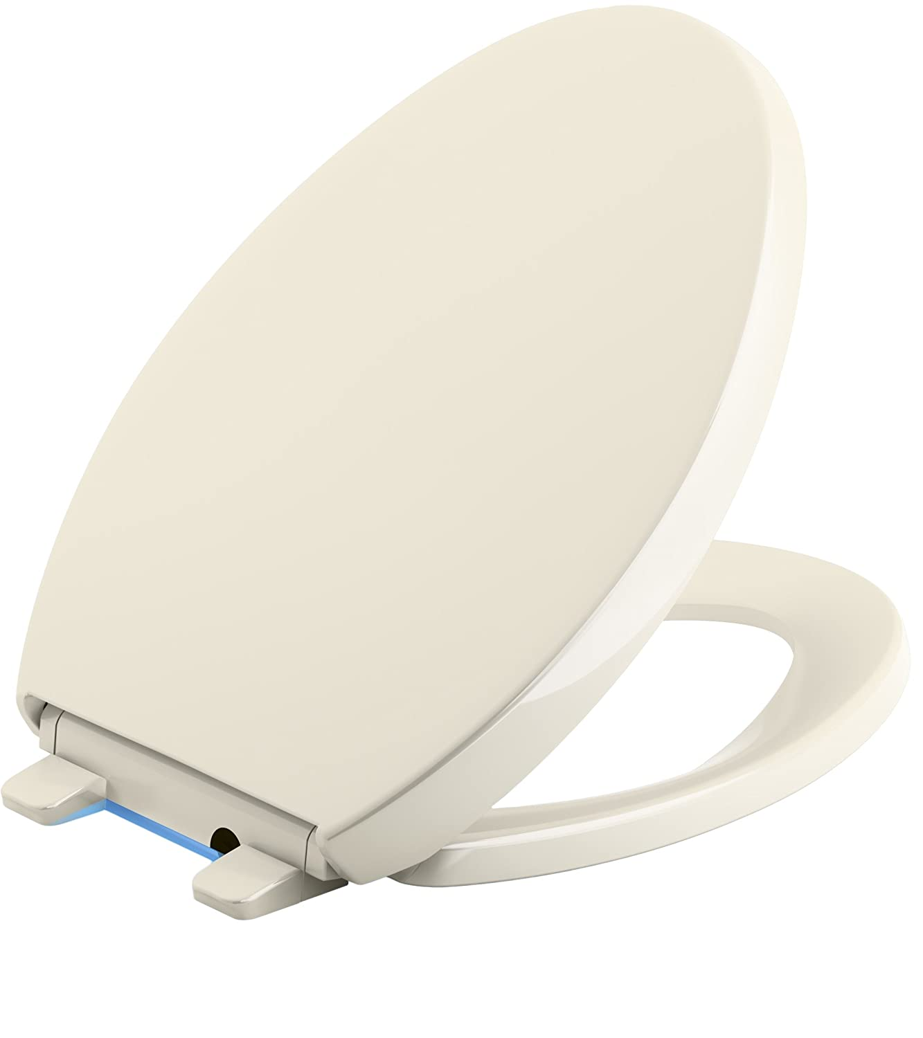 KOHLER K-5638-47 Reveal Nightlight Quiet-Close with Grip-Tight Bumpers Elongated Toilet Seat, Almond