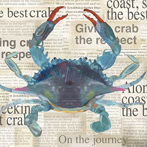Paperproducts Design 1332007 Lunch Napkin with Exquisite Best Crab Design, 6.5 x 6.5'', Blue by Paperproducts Design