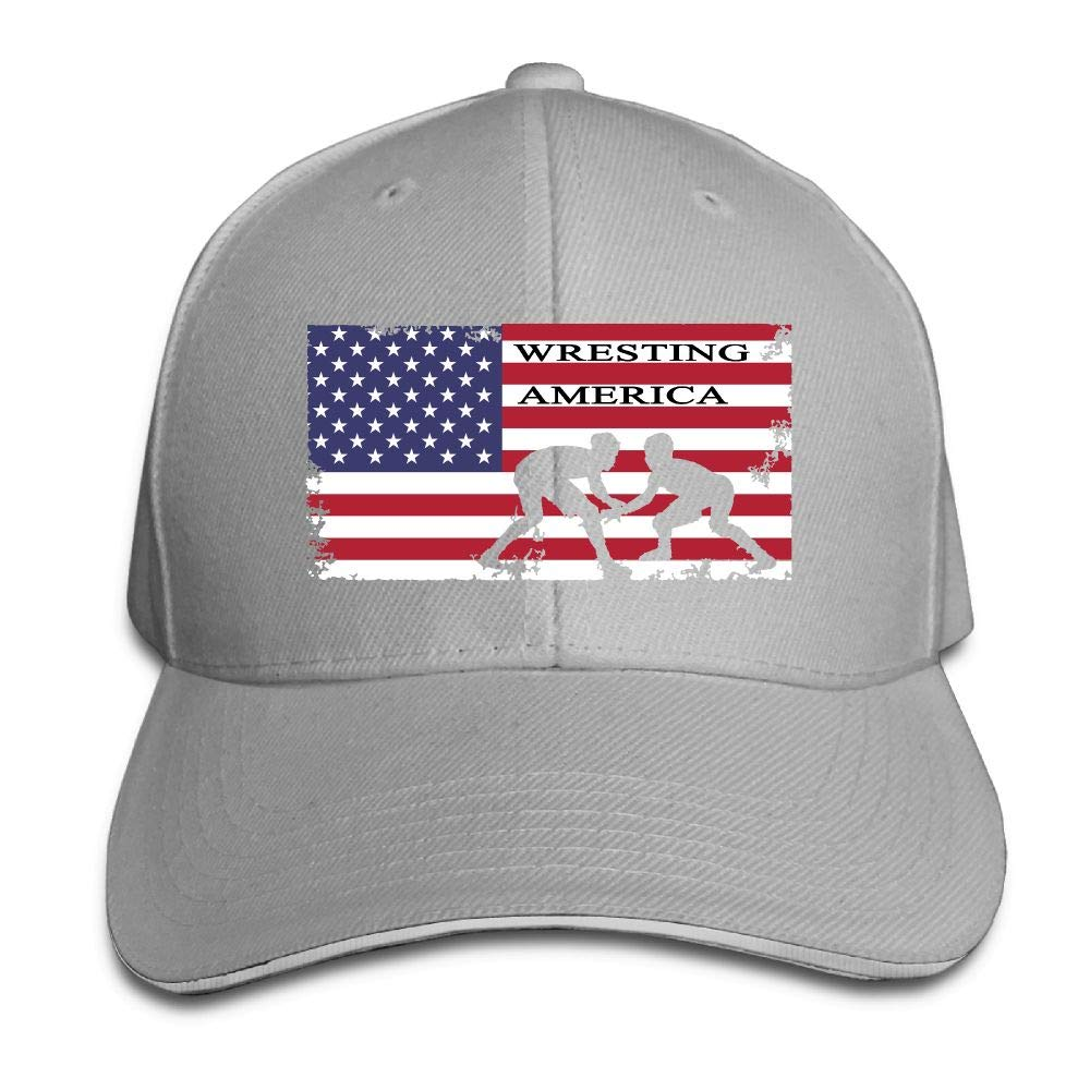 YDHO-CAPS American Flag Wrestling Mens Womens Adjustable Snapback Trucker Hats Curved Visor Hat Sandwich Baseball Cap by YDHO-CAPS