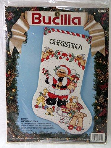 Bucilla 1993 Merry Christmas Bear Stocking Counted Cross Sti