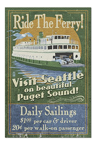 Seattle, Washington - Ferry Vintage Sign (20x30 Premium 1000 Piece Jigsaw Puzzle, Made in USA!)