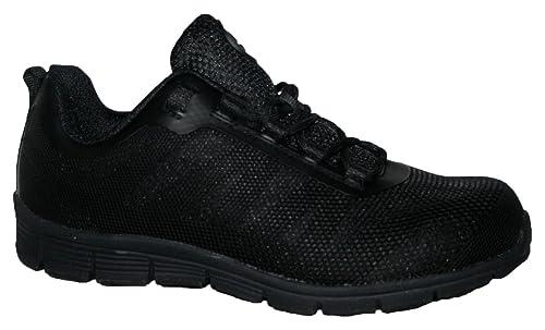 Ladies Bases Puntera de ACERO Seguridad Trabajo Entrenador Zapatos de Encaje Ultra Ligera, Color Negro, Talla 40.5