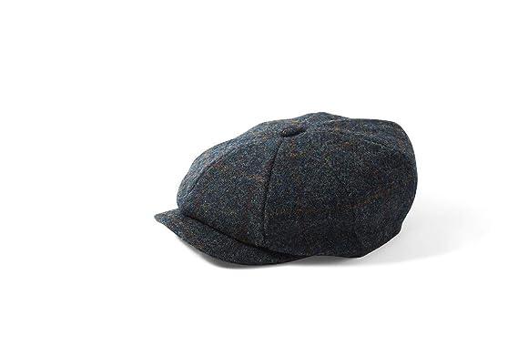 5639894efa0 Carloway Bakerboy Hat in Navy Blue Check (2018) Harris Tweed - Failsworth  (57cm)  Amazon.co.uk  Clothing