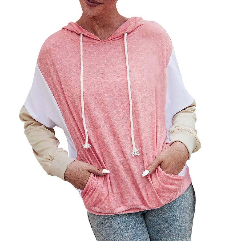 Lataw Women Sweatshirt Hooded Stylish Drawstring Casual Splice Long Sleeve Pullover Pocket Sweater Soft Tops Sporty Blouse by Lataw