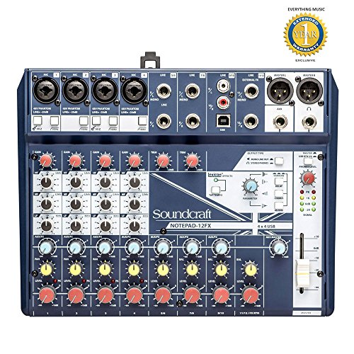 Soundcraft Notepad-12FX Small-format Analog Mixing Console with Microfiber and Free EverythingMusic 1 Year Extended Warranty