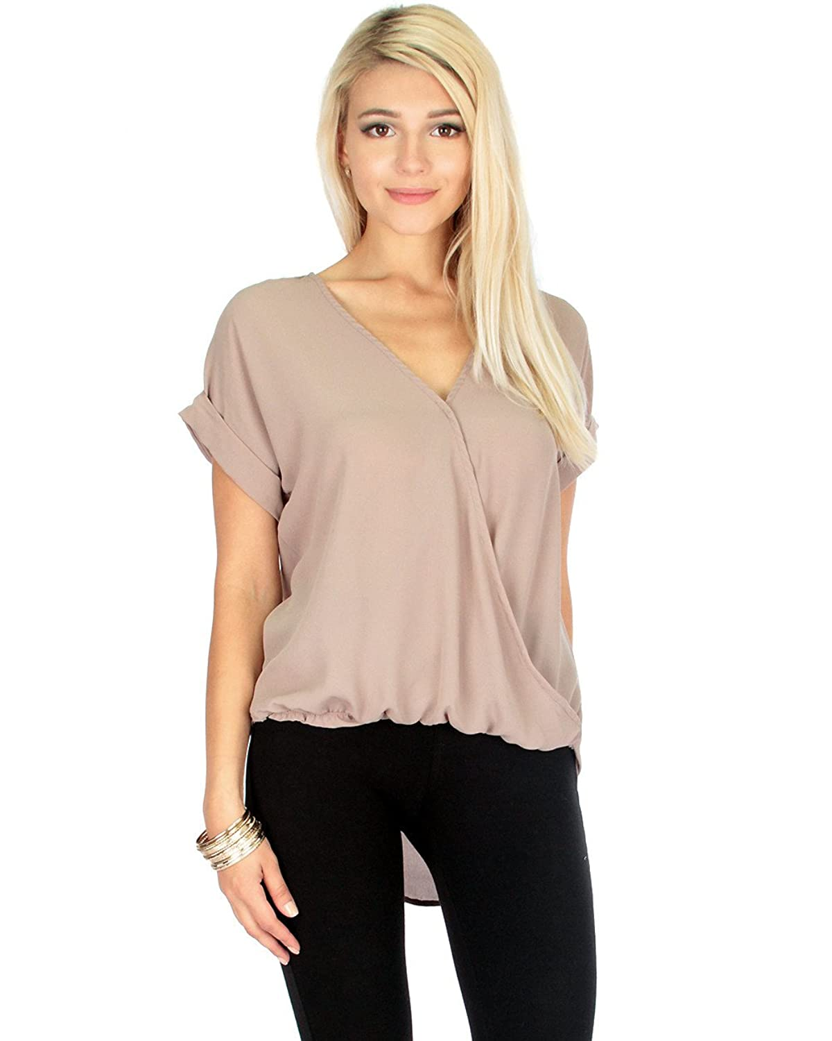 Lyss Loo Women's Wrap Star Hi-Low Front Twist Woven Blouse Top Shirt