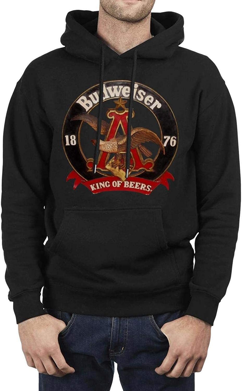 Mens Pullover Hoodie CLH Long Sleeve Fleece Budweiser-Vintage