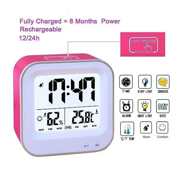Medidor de humedad, dormitorio 3 in1 multifunción reloj despertador, despertador con batería, 12h o 24h/temperatura (C/F)/humedad/semana pantalla, ...