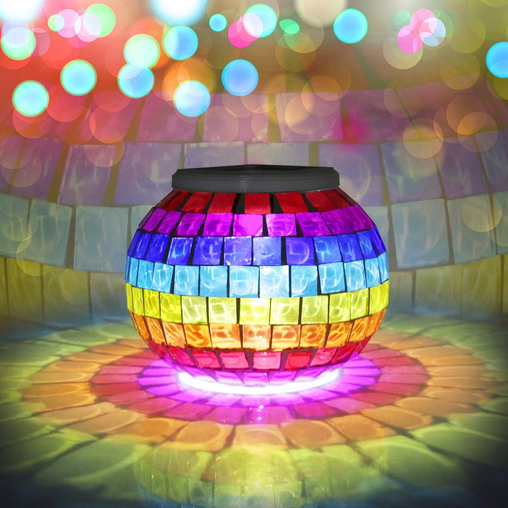 Solar Lights, BESWILL Color Changing Mosaic Glass Ball LED Solar Garden Lights,Rechargeable Waterproof Solar Table Lights with 2 Lighting Modes for Garden Yard Home Decoration and Ideal Gift(Star) Greentimeszone