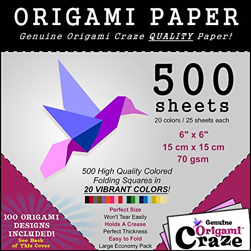 Origami Paper Special - 500 Sheet Economy Pack - 6 Inch Square Sheets - 20 Vivid Colors - 100 Design Ebook Included! (please check the back of the cover) (Modular Origami Paper compare prices)