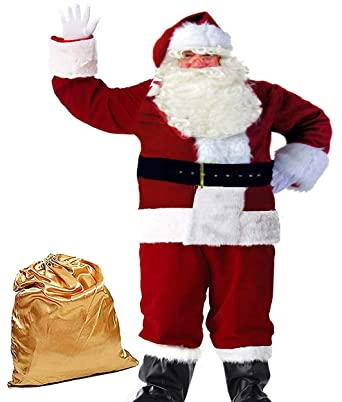 3b4e7e52616 Molodo Men s Deluxe Santa Suit 10pcs Christmas Ultra Velvet Adult Santa  Claus Costume Red