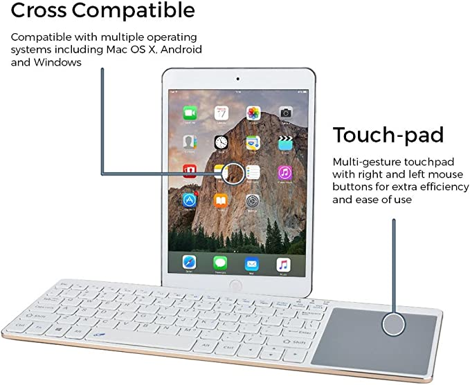 Slim 10 Wireless QWERTY Bluetooth Keyboard Touchpad for Windows Android Mac