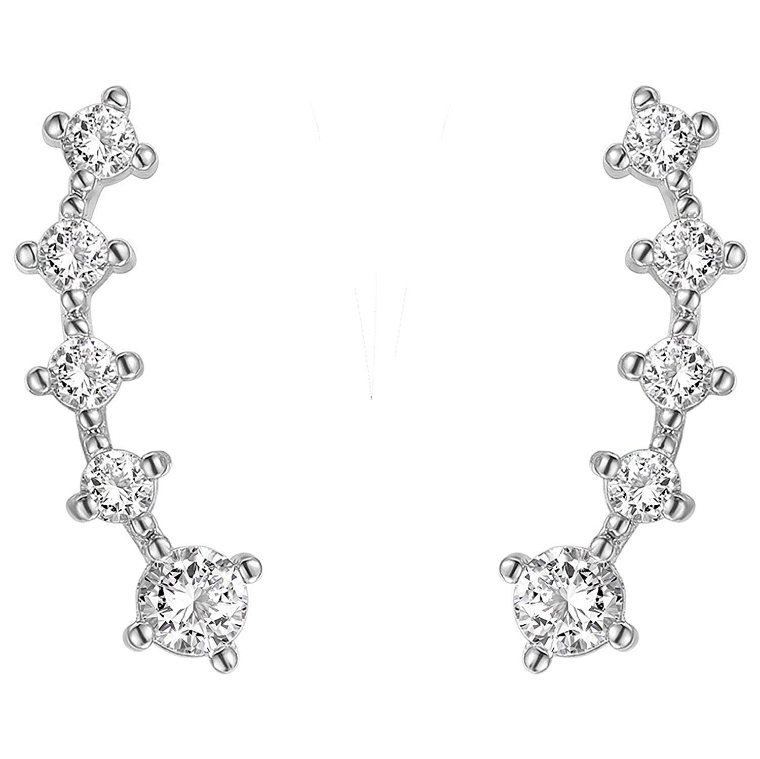 PAVOI Rhodium Plated Sterling Silver Post Climber Arrow Ear Crawler Pearl Earrings Set by PAVOI