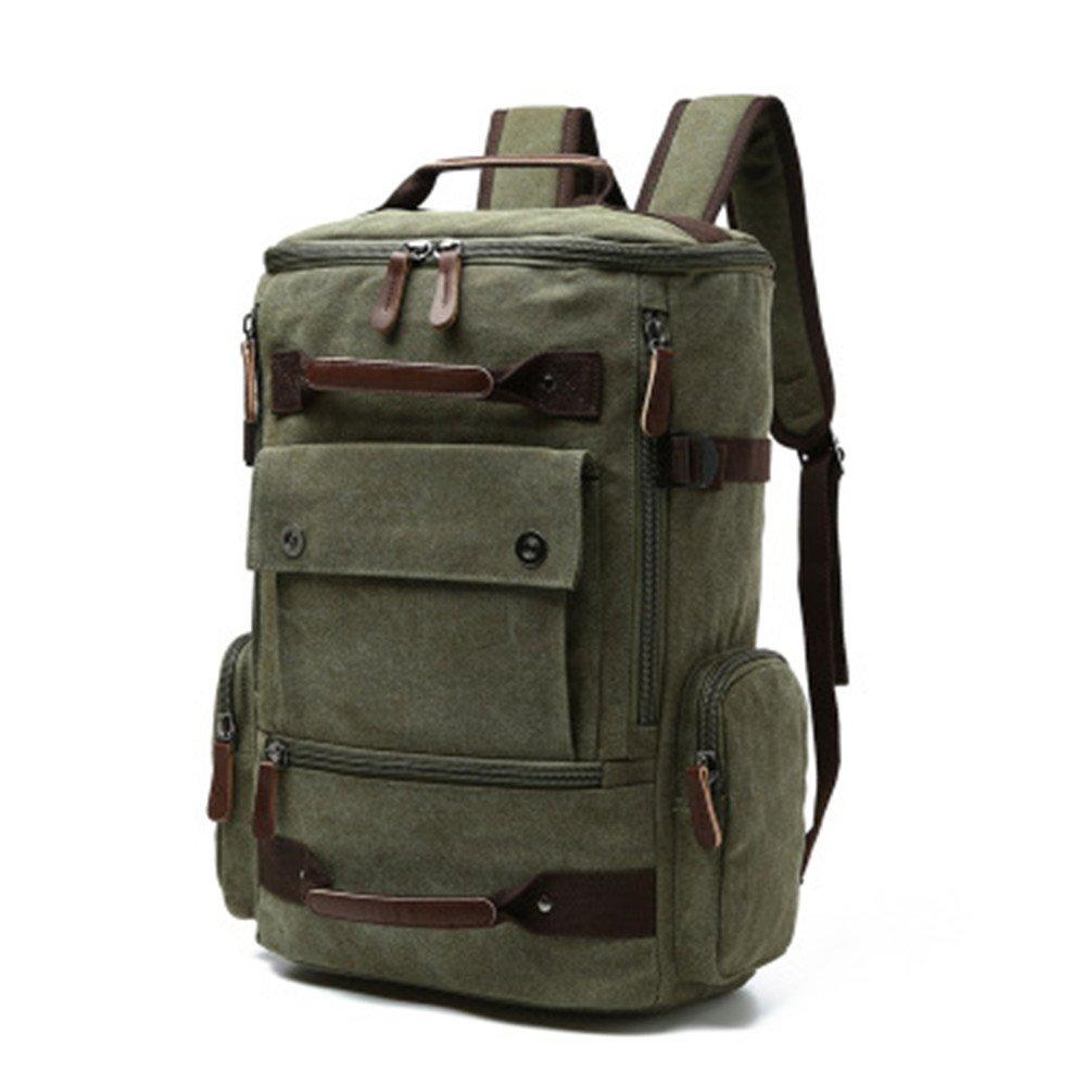 School Backpack Vintage Canvas Laptop Backpacks Men Women Rucksack Bookbags (Army Green-1) by CAMTOP (Image #1)