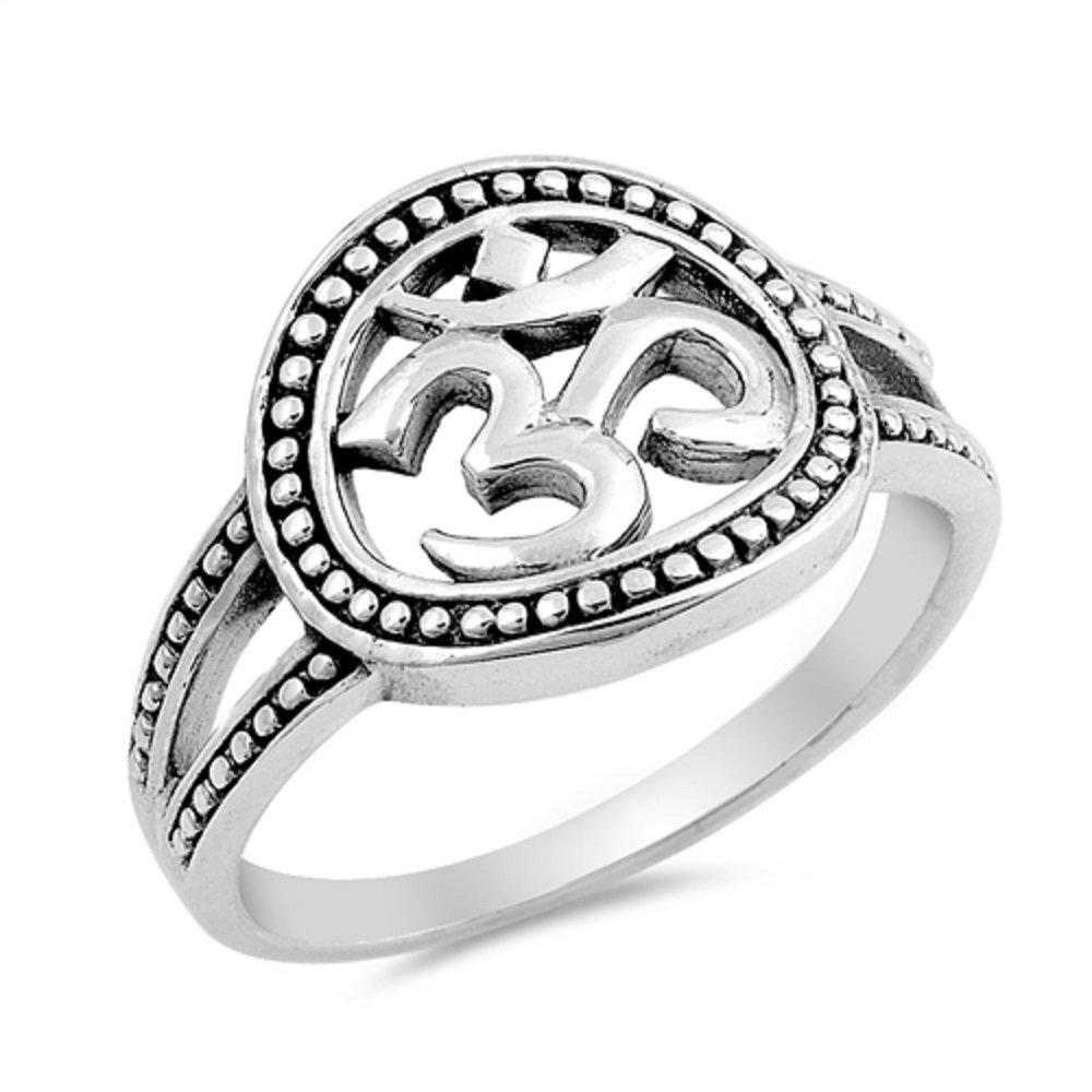 Princess Kylie Oxidized 925 Sterling Silver Beaded OM Design Ring