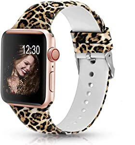 Sunnywoo Floral Bands Compatible with Apple Watch Band 38mm/40mm/42mm/44mm, Soft Silicone Fadeless Pattern Printed Replacement Sport Bands for iWacth Series 6 5 4 3 2 1, S/M M/L for Women/Men