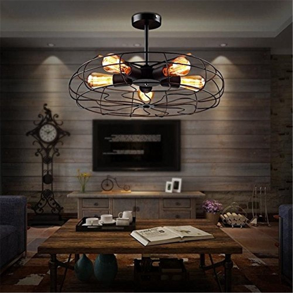 Ceiling Light Mklot Industrial Vintage Wrought Iron Semi Flush Mount Pendant Chandelier Metal Hanging Fixture With 5 Lights Com