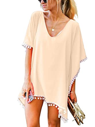 75eab00795 Garsumiss Women Chiffon Pom Pom Beach Cover up Swimsuits Bikini Swimwear ( Apricot): Amazon.co.uk: Clothing