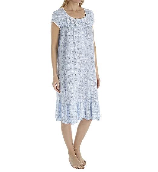 Eileen West Women s Cotton Sheer Jersey Waltz Nightgown Light Delphinium  Ground Dot Small 9e0f2bbf4