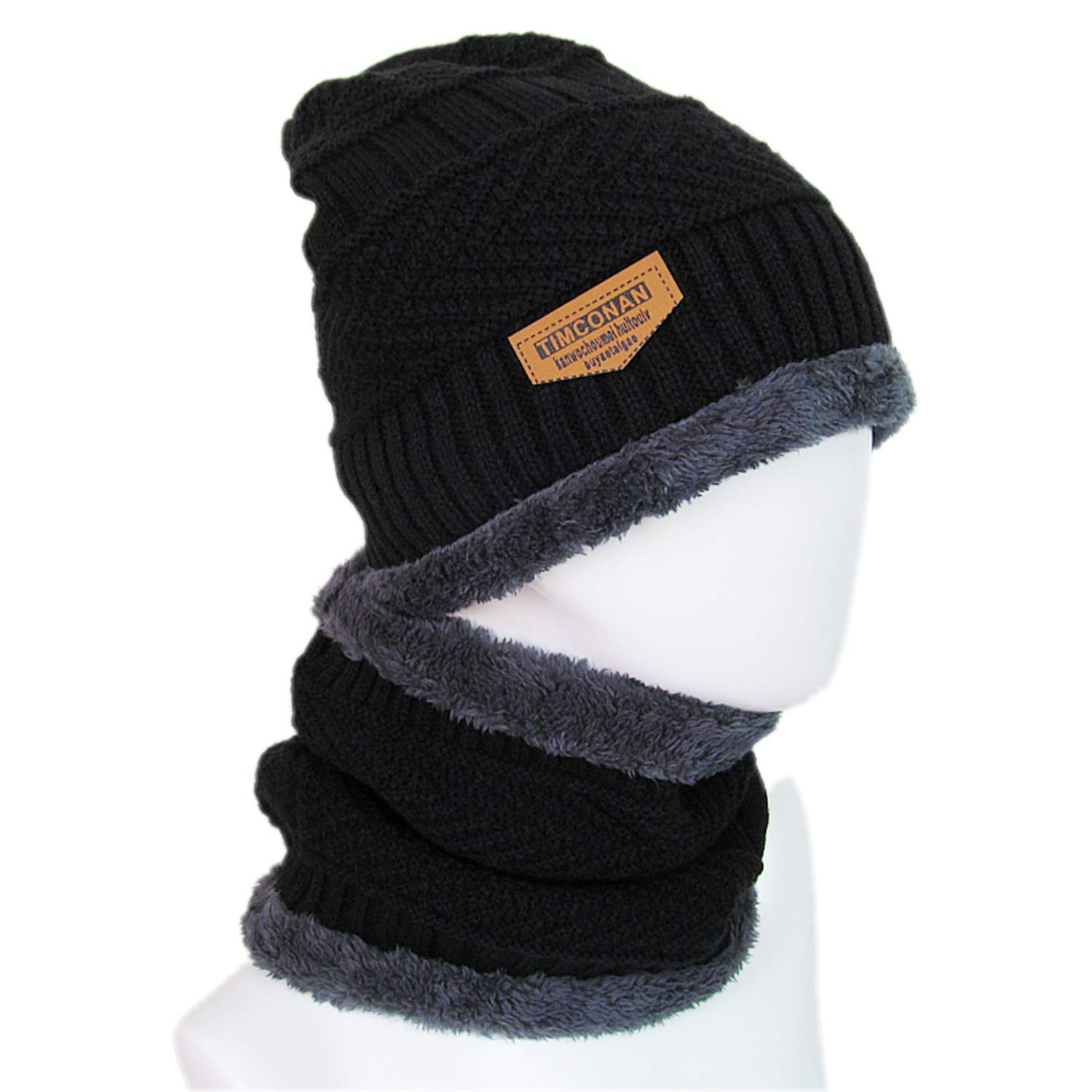 MOACC Winter Beanie Hat and Warm Scarf Set Thick Knit Skull Cap Warm Snow Ski Skull CapFleece Lined Scarf Outdoors Hat Unisex Use for Skiing Snowboarding Motorcycling Snow Climing (Black)