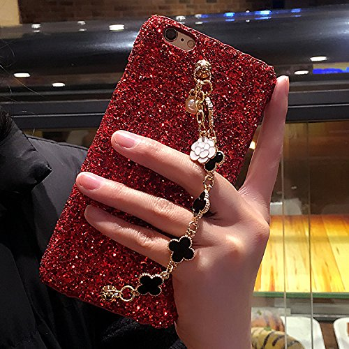 Chanyaozy iPhone 8 Plus 5.5 Inch Case,Luxury Bling Sparkling Metal Chain Bracelet Phone Case For iPhone 7 Plus (Red) (Sparkling Bracelet Diamonds)