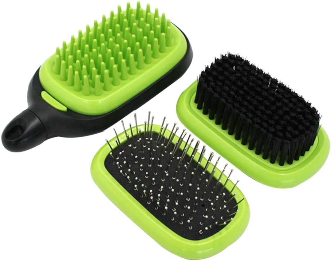 Pets Cat /& Dog Hair Brush No More Shedding Easy Self Cleaning Blue Pet Rubber Grooming Brush Massage Adjustable Loop Handle /& Stainless Steel Pins for Dogs and Cats with Long or Short Hair Blood Circulation