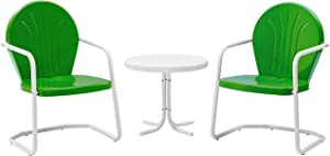 Crosley Furniture Griffith 3-Piece Metal Outdoor Conversation Set with Table and 2 Chairs - Grasshopper Green