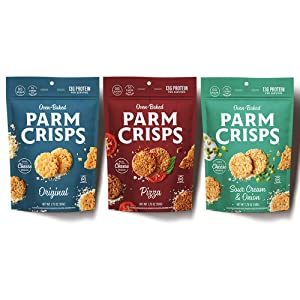 ParmCrisps Snack 3 Variety Pack, 100% REAL Cheese Crisps| Original Parmesan, Pizza, Sour Cream & Onion| Keto Gluten Free Snacks, Oven Baked, Sugar Free, Low Carb, High Protein, Keto-Friendly | 1.75oz