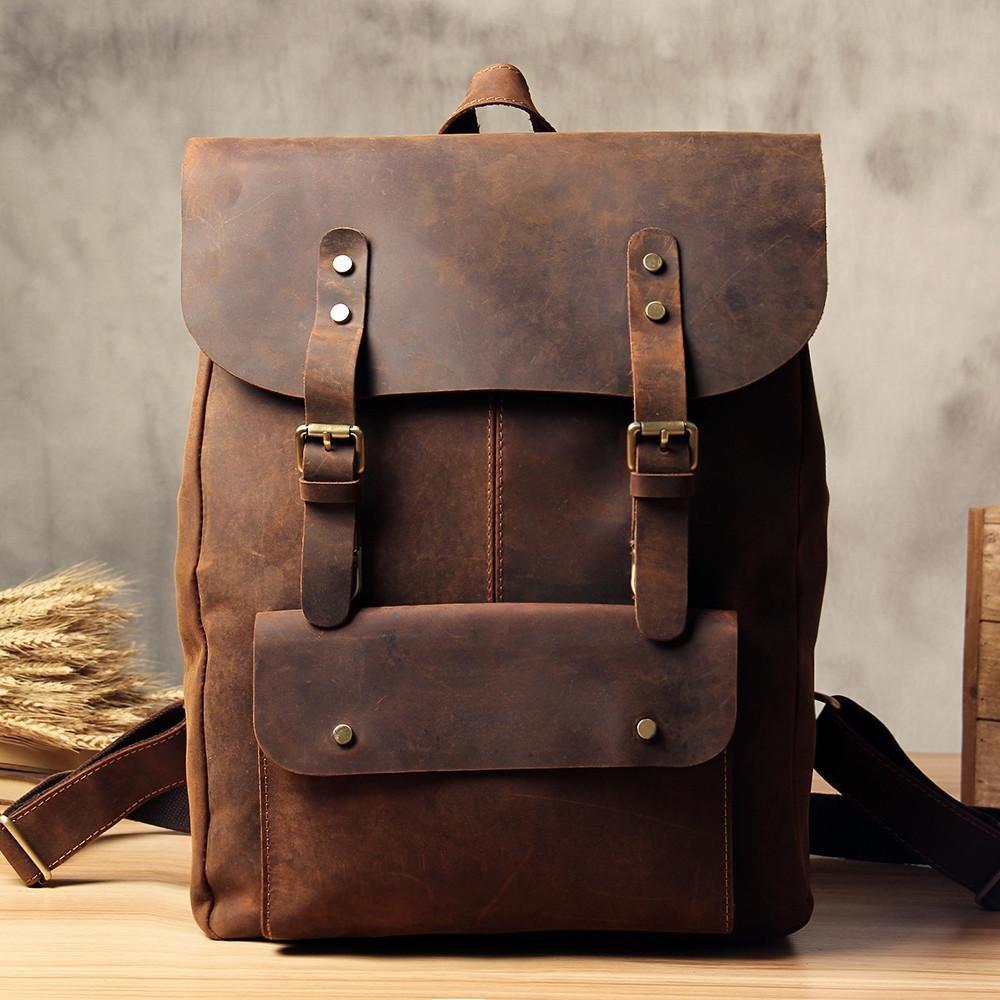 Vintage Genuine Leather School Backpack Casual Rucksack Travel Backpack Laptop Bag