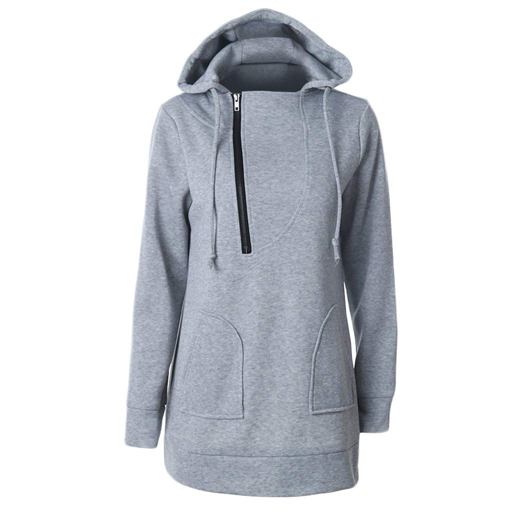 Inverlee Blouse Women's Autumn and Winter Solid Color Zipper Hoodie Drawstring Long-Sleeved Shirt Sweater Pullover Gray