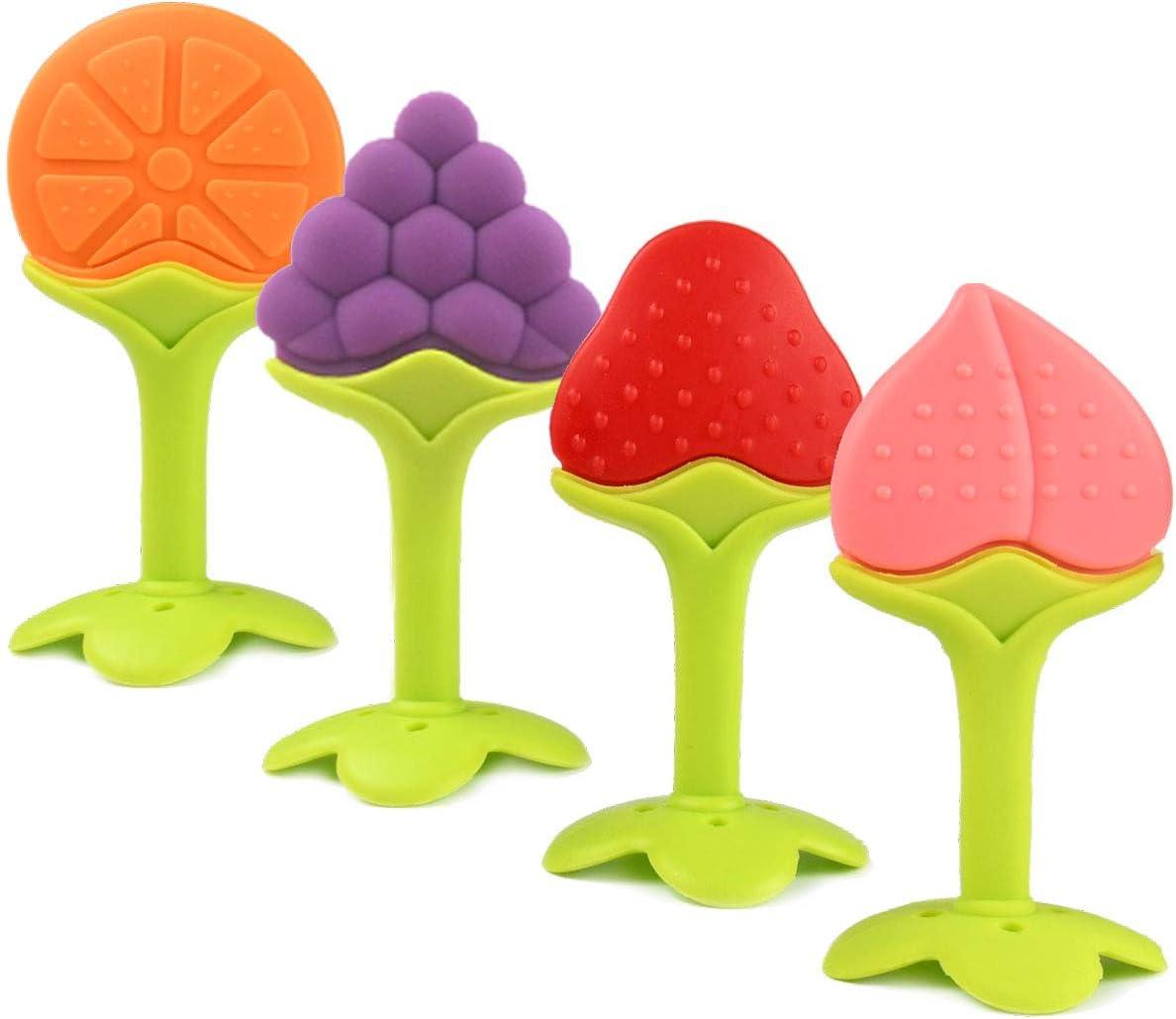 Gresunny 4 piezas Mordedores bebes silicona mordedor de frutas para bebe naturales sin bpa dentición suave dientes molares chupete para bebés niños pequeños