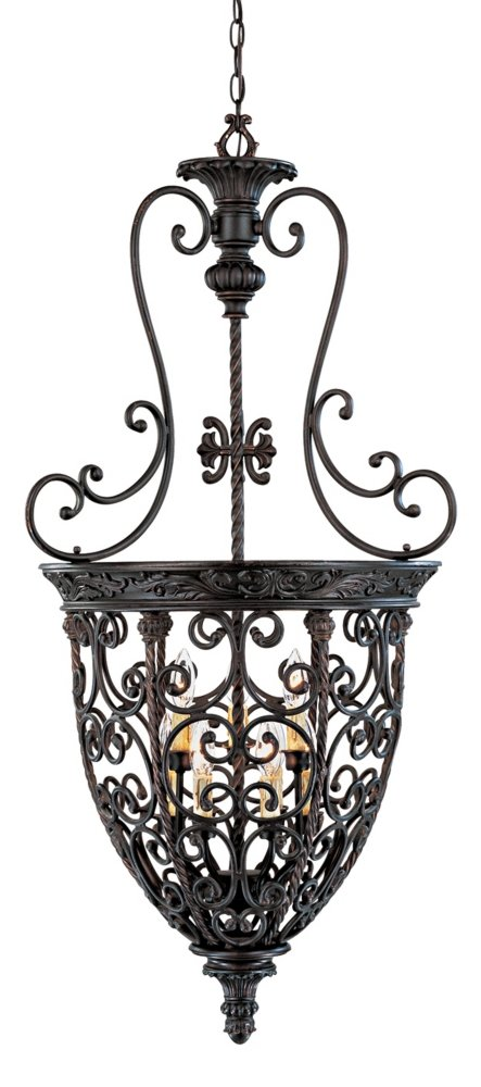 Used Foyer Chandelier : French scroll quot w light bronze iron foyer