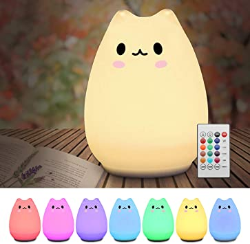Elfeland Children Night Light LED Cute Silicone Cat Lamp 12+1 Colors/6  Lighting Modes/USB Rechargeable/Timing Off Remote&Tap Control Night Light  for Kids Nursery Baby Bedroom Living Room Birthday Gift - - Amazon.com