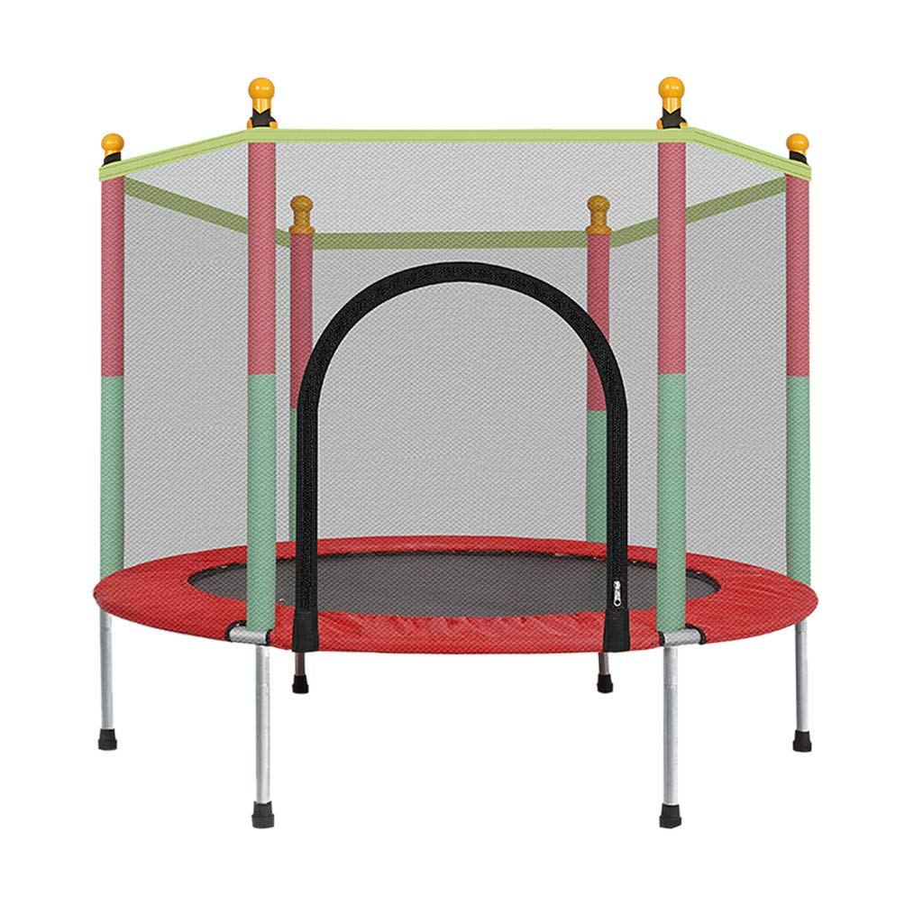 Rigel7 5 FT Kids Round Trampoline with Safety Enclosure Net Bounce Jumping Mat Spring Cover Padding Outdoor Basement Playground