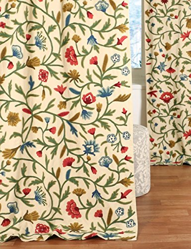 (NAQASH Traditional Vintage Floral Hand Embroidered Wool on Cotton Crewel Drapery Curtain Panel 54