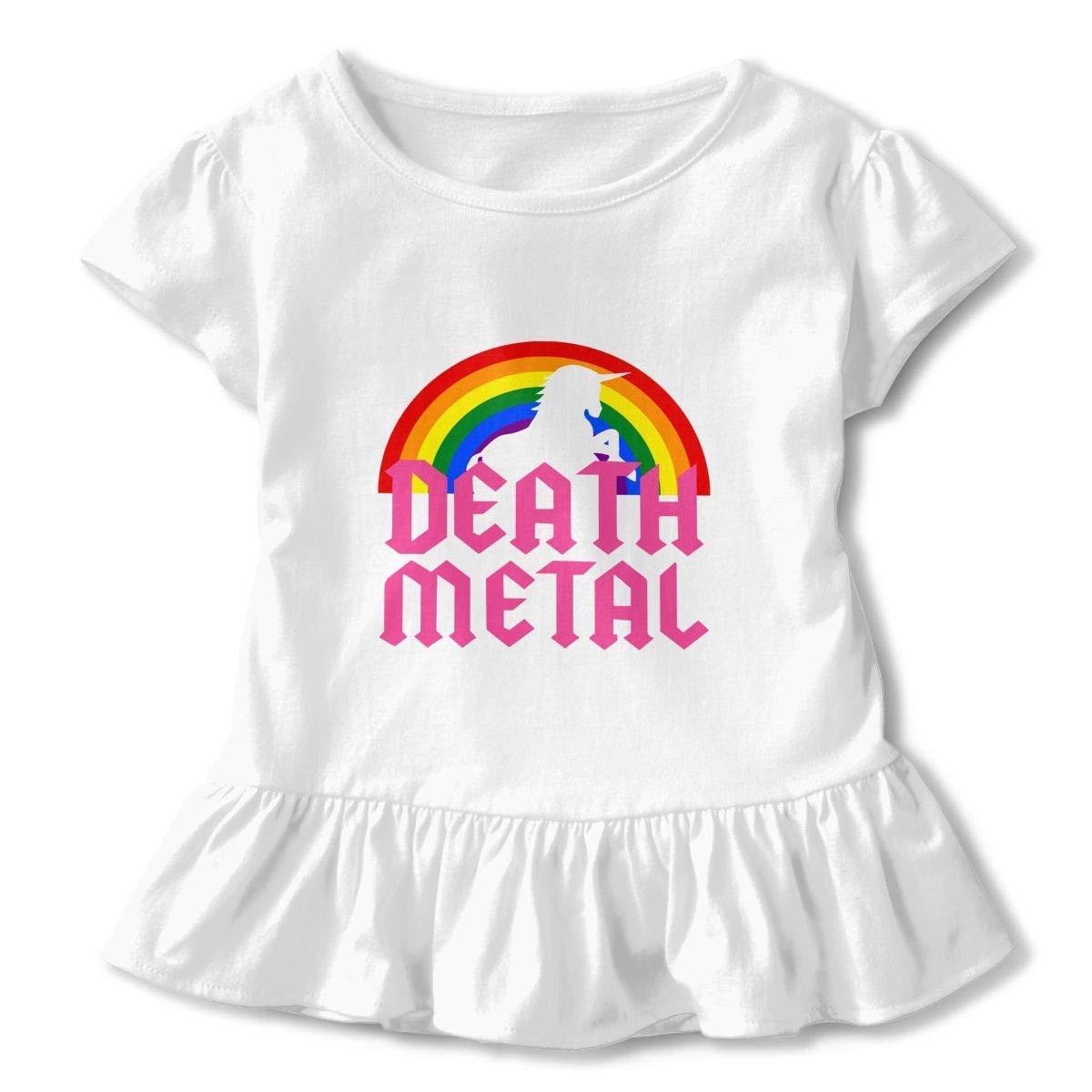 TYBroos Death Metal Unicorn Toddler Girls Short Sleeve Ruffle T Shirt