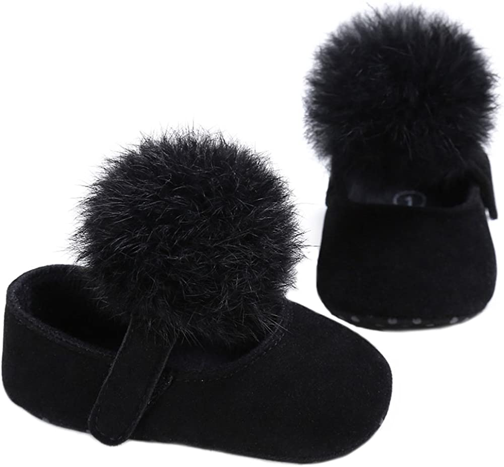 LINKEY Baby Girl First Shoes with Pom Pom Cute Dress Shoes Mary Jane Ballet Flat