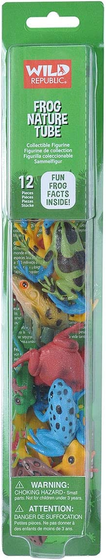Wild Republic Frog Nature Tube, Amphibian Figures, Frog Toys, Educational Toys for Kids, 12-Piece
