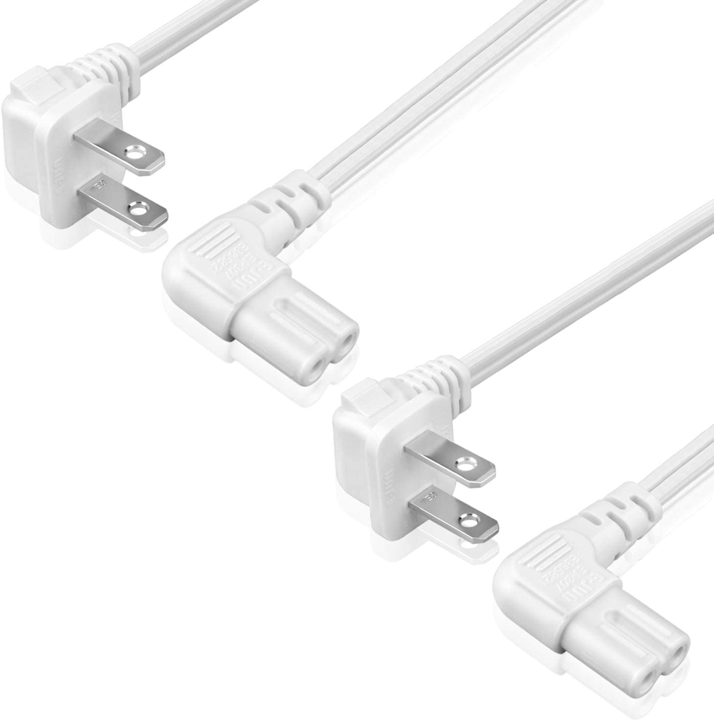 TNP Universal 2 Prong Angled Power Cord (6 Feet) 2 Pack - NEMA 1-15P to IEC320 C7 Figure 8 Shotgun Connector AC Power Supply Cable Wire Socket Plug Jack (White) Compatible w/Apple TV, PS4 PS3 Slim
