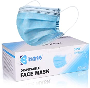50-Pack Bigox Disposable 3 Ply Earloop Face Mask