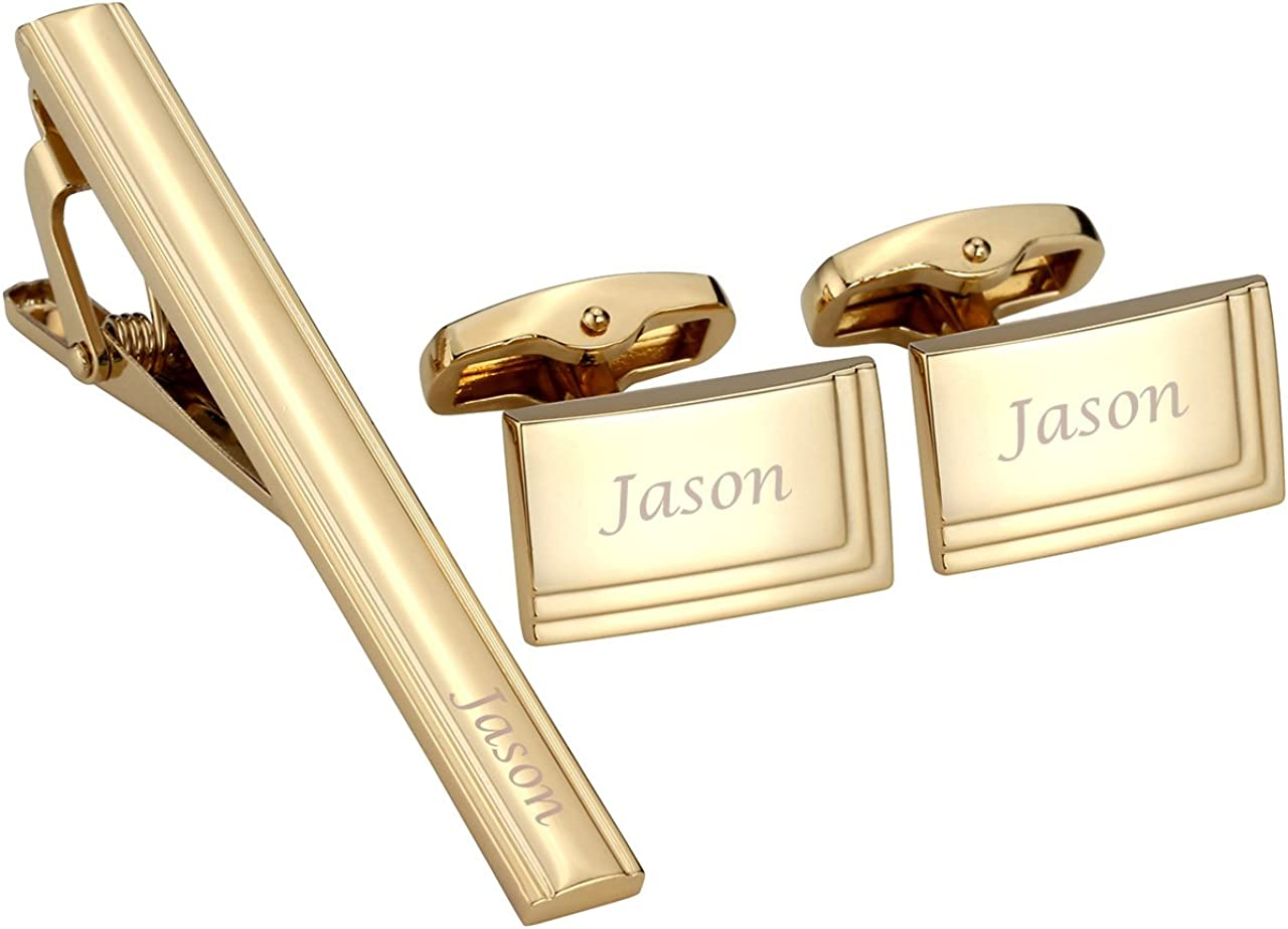 Jovivi Personalized Custom Name Message Tie Clip for Men Cufflinks Set Tuxedo Shirts Business Wedding in Gift Box