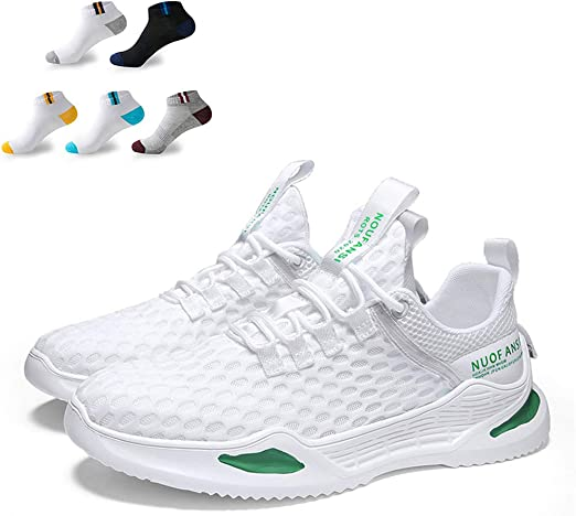 XFQ Hombres Transpirable Zapatillas De Deporte Atlético Super Light Mesh Running Formadores Antideslizante De Amortiguación Zapatos De Deporte Ocasional Que Recorre,Verde,43EU: Amazon.es: Hogar